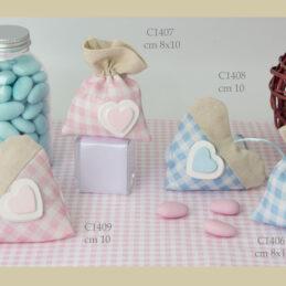 Sacchetto confetti bomboniere C1406-C1409 CUORE IN GESSO