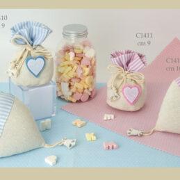 Sacchetto confetti bomboniere C1410-C1413 cuore in panno