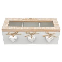 scatola in Legno tre Scomparti Shabby Chic Linea Love