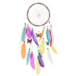 Cattura Sogni Acchiappasogni con Piume Multicolorate Decorazione tradizionale Dimensioni: dia cm 20 x l cm 63
