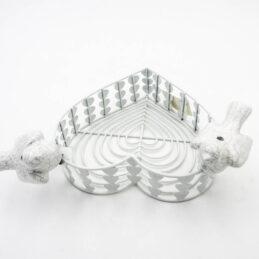Cestino Cuore in Metallo colore Bianco con colombe