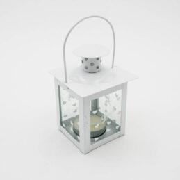 Lanterna Porta candela con cuoricini in Metallo Bianco