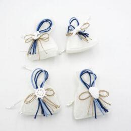 Sacchetto Porta Confetti Tela Bianca con Applicazione Marina