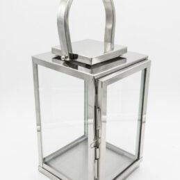 Lanterna Elegante in Metallo Cromato e Vetro di Taglio Moderno