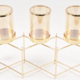 Portacandela in metallo oro,design moderno