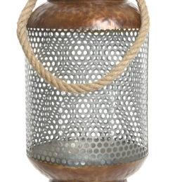 Lanterna in metallo decorato, con manico in corda