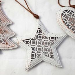 Appendini natalizi in metallo bianco