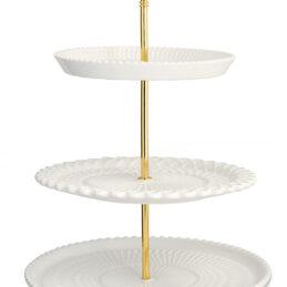 Alzata a 3 livelli in ceramica bianca con piolo oro