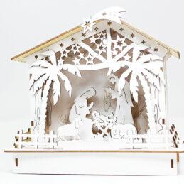 Natività in legno con luci led
