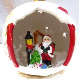 Sfera natalizia in ceramica con luce led colorata
