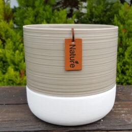 Caspò in ceramica lavorata bianco e beige