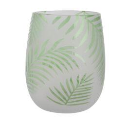 Vaso in vetro verde con fogliame
