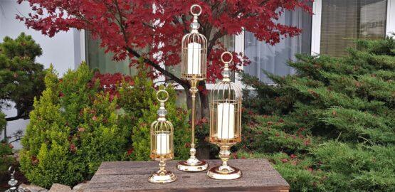 Lanterna Portacandela a Gabbia con Alzata in Metallo GOLD