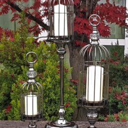 Lanterna portacandela a Gabbia con Alzata in Metallo FUME'
