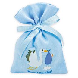 Sacchetto portaconfetti battesimo con cicognaSacchetto portaconfetti battesimo con cicogna