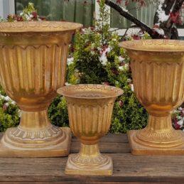 Coppa porta piante effetto oro anticato