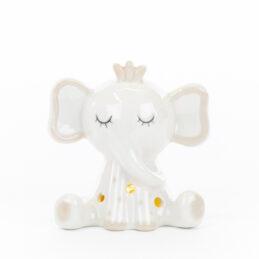 Bomboniera led elefantino bianco porcellana