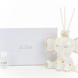 bomboniera elefantino bianco con led profumatore